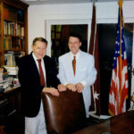15th Secretary of Defense, 10th US Secretary of Health, Education and Welfare, Former Director of US Office of Management and Budget and former Chairman of the Federal Trade Commission, Casper Weinberger and Derek Bryson Park at the Weinberger family home at Mt. Desert Island, Maine