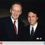 "Prime Minister of Canada, Jean Chrétien receiving on behalf of his Nation ""The Franklin D. Roosevelt International Disability Award"" and Derek Bryson Park, United Nations, NYC"