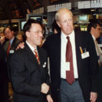 Derek Bryson Park and Senior Member, Specialist and Director of the New York Stock Exchange, Donald Patrick Scanlon on the floor of the NYSE